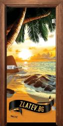 Стъклена интериорна врата Print G 13-14 Beach sunset с каса  Златен дъб