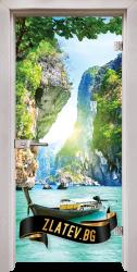 Стъклена интериорна врата Print G 13-15 Thailand с каса  Перла