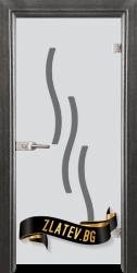 Стъклена интериорна врата Sand G 14-2 с каса Сив кестен